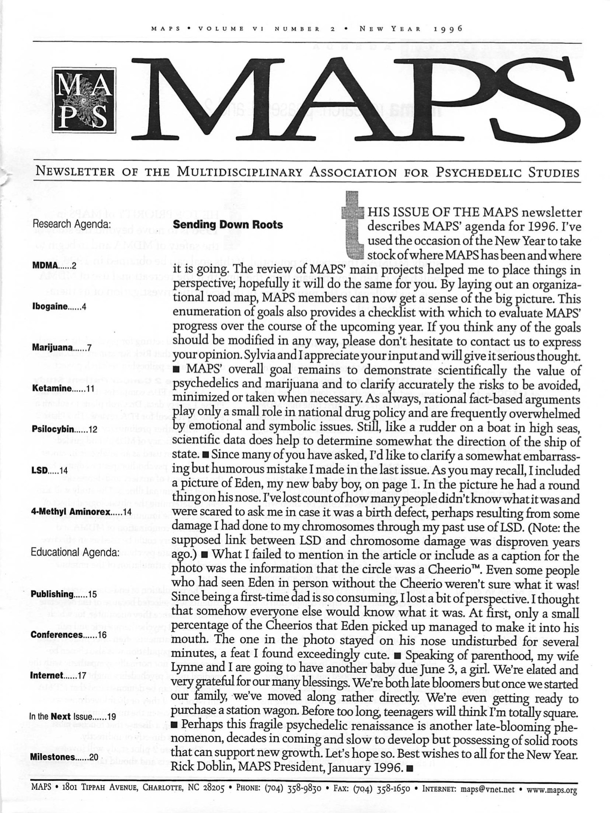 MAPS Bulletin Winter 1996: Vol. 06, No. 2