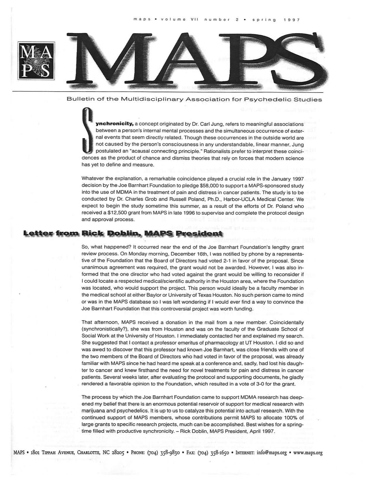 MAPS Bulletin Spring 1997 Vol. 07, No. 2
