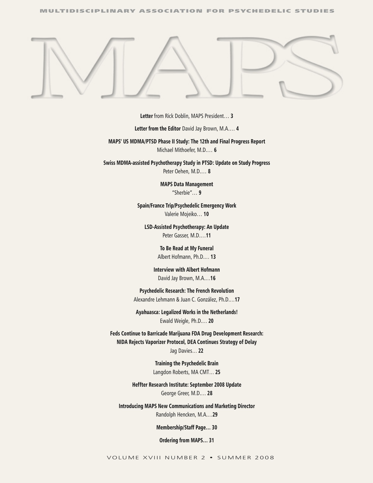 MAPS Bulletin Vol XVIII No 2: Summer 2008 - Front Cover Image